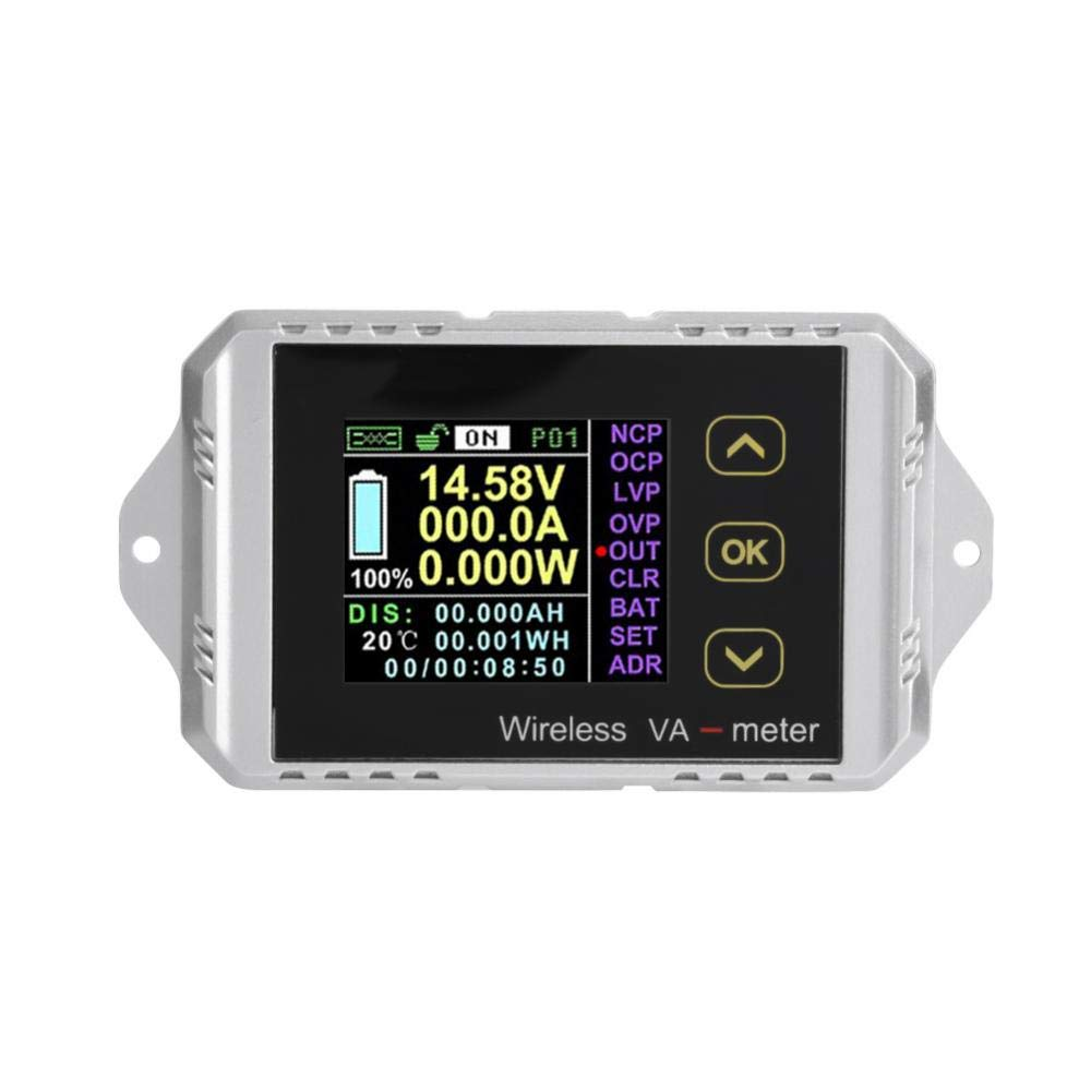 Time and Temperature Watt-Hour Current Wireless Color LCD Screen Dc Voltage Ammeter Power Meter Watt Tester Can Measure Voltage Power VAT-1050 Charge and Discharge Capacity Dc Ammeter
