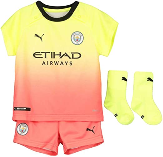 Manchester City Official 2019 Football 2Pk Home Away Kit Baby Bodysuits Blue