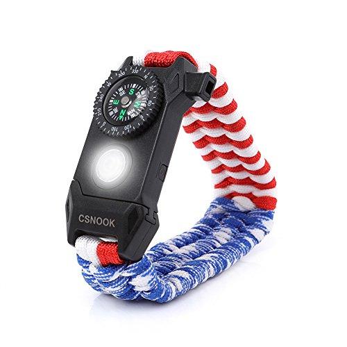 CSNOOK Paracord Bracelet,Survival Bracelet,Emergency Paracord Bracelet,The Ultimate Tactical Survival Gear,LED Light,Flint Fire Starter,Whistle,Embedded Compass,Survival-Kit (US Flag Color) -