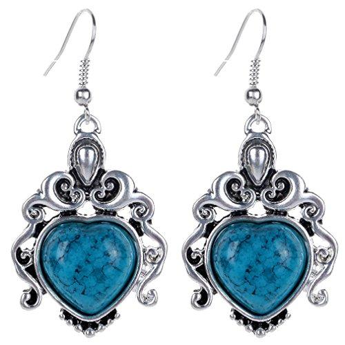 Blue Stone Chandelier - YAZILIND Vintage Blue Heart Stone Chandelier Dangle Drop Hook Earrings Women Gift