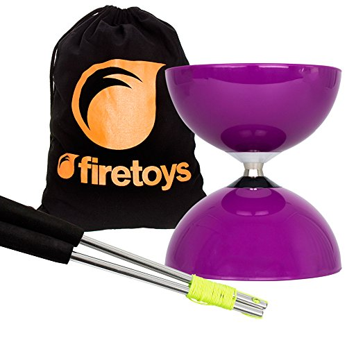 Purple Big Top - Jumbo Bearing Diabolos Set, Ali Dream Metal Diablo Sticks, Diabolo string & Firetoys Bag!