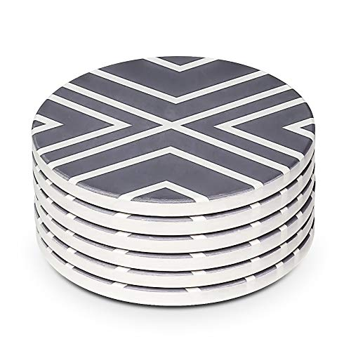 Black Square Round PINMEI Black Drink Coasters Set of 6 3.9 inch Protector PU Leather Coaster Holder for,Cup,Glasses Bar Accessory Stable placemats,Anti-Tipping Mugs,Home furnishings