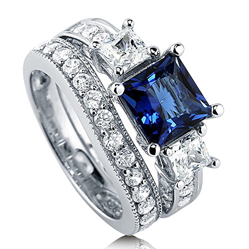 BERRICLE Rhodium Plated Sterling Silver Simulated Blue Sapphire Princess Cut Cubic Zirconia CZ 3-Stone Anniversary Engagement Wedding Ring Set 3.58 CTW Size 8