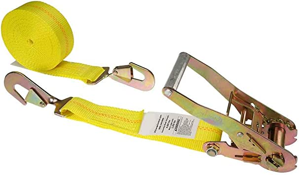 US Cargo Control 2 Inch x 20 Foot Endless Yellow Ratchet Strap Made with Industrial Grade Webbing