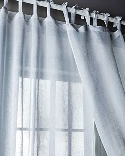 (Kalahari White Organic Linen Gauze/organdy Tie Top Window/bed Sheer Curtain Panel (52