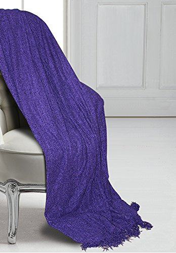 Clarissa Collection - Luxor Linens Cozy Polyester Chenille Large Oversized Throw 1 PC Blanket for Couch, Throw, Sofa Cover,Soft Bedding Throw Blanket - Clarissa Blanket Collection -59 X 78 inches, Violet
