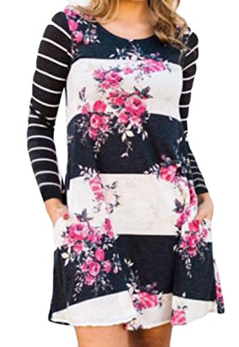 Pockets With Print Dress Coolred Evening Black Floral Splicing Women Striped wqEUUtSF