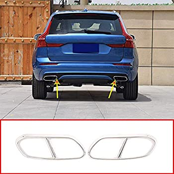 YIWANG Stainless Steel Pipe Throat Exhaust Outputs Tail Frame Trim Cover 2Pcs For Volvo XC60 2018 2019 Auto Accessories