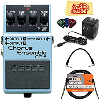 Boss CE-5 Chorus Ensemble Guitar Effects Pedal Bundle with 9V Power Adapter, Gearlux Instrument Cable, Patch Cable, Picks, and Polishing Cloth