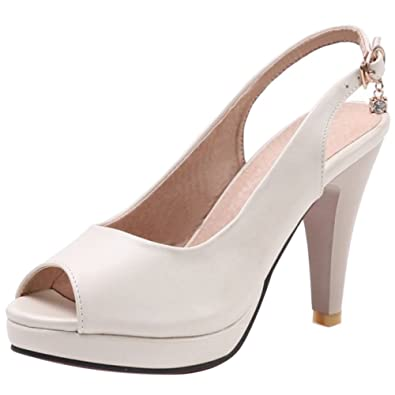 1f4201a322ecd3 RAZAMAZA Damen Sommer Schuhe High Heels Sandalen mit Absatz Patyu Buro  Beige Size 33 Asian
