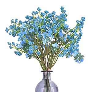 Anna Homey Decor Pack of 2 Artificial Baby Breath Gypsophila Flowers Bouquets,Total of 2 Bundles, Six Twigs Per Bundle Blue Silk Flowers for Living Room Bathroom Wedding Outdoor Decoration 89