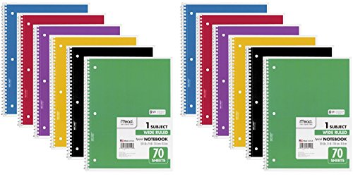 Mead Spiral Notebook, 1 Subject, 70 Wide Ruled Sheets, Assorted Colors, 12 Pack (Spiral Notebook Ruled Wide)