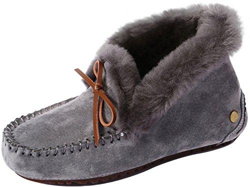 U-lite Women's Warm Suede Wool Slipper Slouch Casual Winter Flat Loafer Grey7 (Moccasins Womens Sheepskin)
