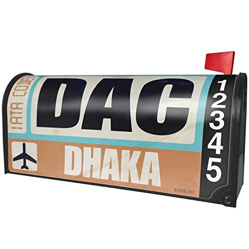 NEONBLOND Airportcode DAC Dhaka Magnetic Mailbox Cover Custom Numbers