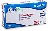 Care Plus Disposable Vinyl Gloves, Powder Free, Clear, Latex Free, Allergy Free, Extra Large, 100 Gloves In A Box Pack Of 10