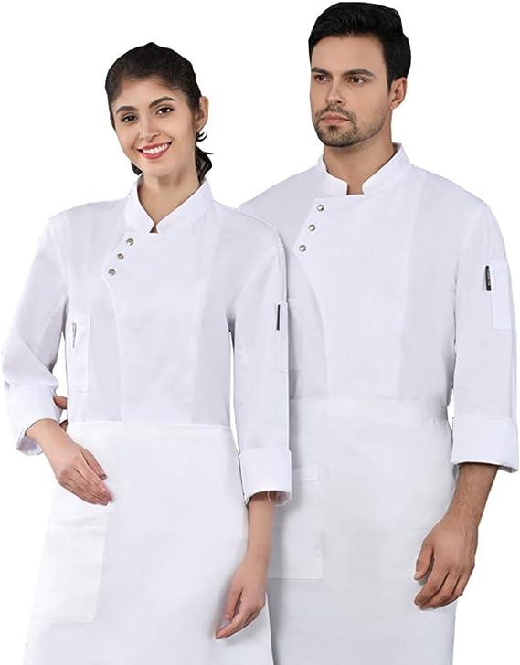 Casaca Cocina Uniforme Bar Restaurante De Chef Cocinero Bar Restaurante Mangas Largas Absorción De Humedad Uniforme De Chef,Blanco,L: Amazon.es: Hogar