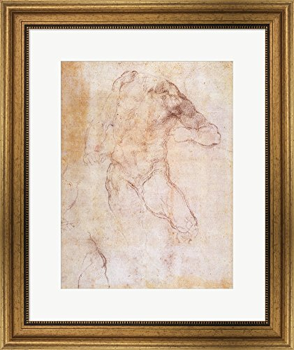 Study of a male nude by Michelangelo Buonarroti Framed Art Print Wall Picture, Wide Gold Frame, 20 x 24 inches
