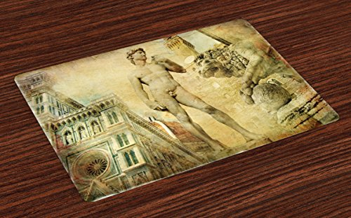 Ambesonne Italy Place Mats Set of 4, Florence Art Collage Michelangelo David Renaissance, Washable Fabric Placemats for Dining Table, Standard Size, Orange Mint