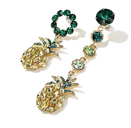 - MISASHA Women Jewelry Asymmetrical Tropical Rhinestone Pinapple Fruit Boho Chic Holiday Dangle Earrings