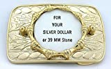 Silver Dollar 39mm Cabochon Cab Gold Plated Oval Goldplated Belt Buckle Mounting CF573