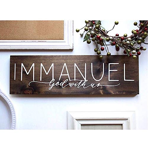 123RoyWarner Immanuel God with Us Hand Lettered Hand Painted Christian Wood Sign Rustic Home Decor Christmas Decorations