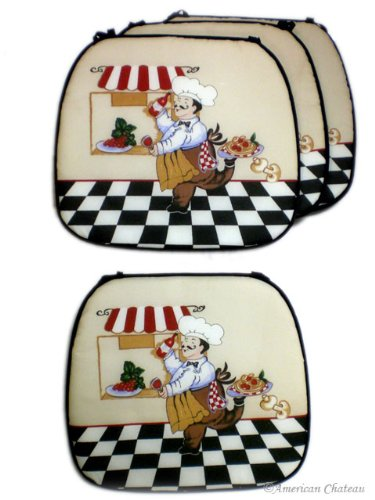 Set Lot 4 Cover Fat French Chef Kitchen Cushion Chair Covers Bistro Home Decor
