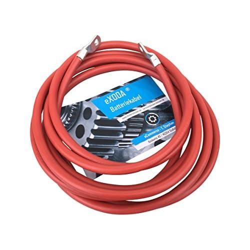 Câble de batterie eXODA 200cm câble d'alimentation en cuivre 10 mm² avec cosses à œillets M6 + M8 rouge 12V câble de voiture