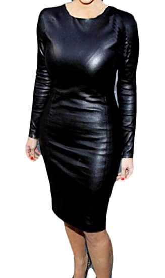15f573af02dd WANSHIYISHE-Women Bodycon Long Sleeve Faux-Leather PU Club Party Midi Dress  Black US