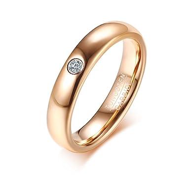 Rockyu レディースファッション リング タングステン 指輪 ジルコニア 18金 ピンクゴールド シンプル 細身 (14)