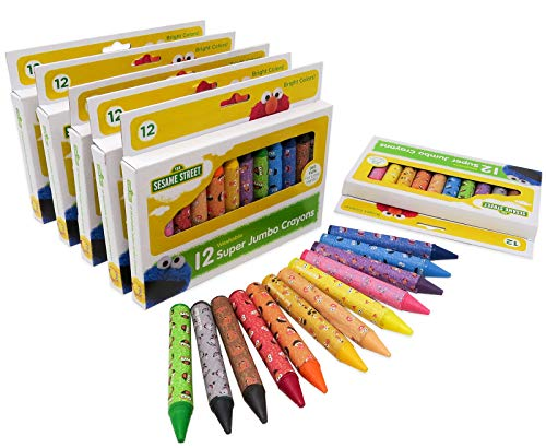 Sesame Street 12-Count Washable Jumbo Crayons, 6 Pack, 72 Crayons Total Assorted Colors, Great for Classrooms -