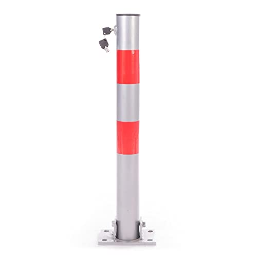 Posta Plegable para Bloquear Espacios de estacionamiento con 3 Llaves 64 cm de Altura Barrera de Aparcamiento Cuadrado Relaxdays Poste de Acero con Bandas reflectoras Rojas