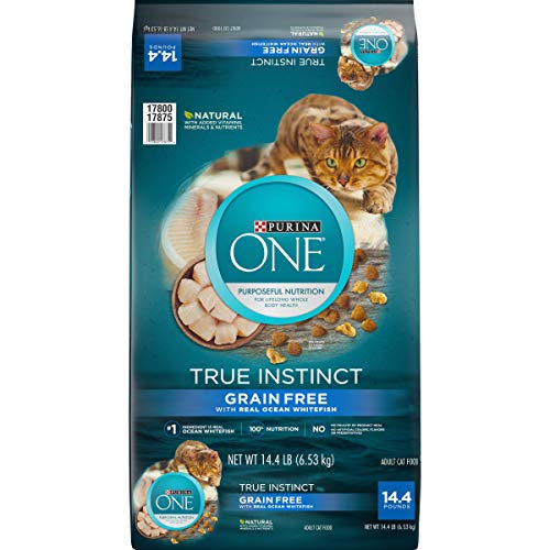 Purina ONE Natural, High Protein, Grain Free Dry Cat Food, True Instinct With Real Ocean Whitefish – 14.4 lb. Bag