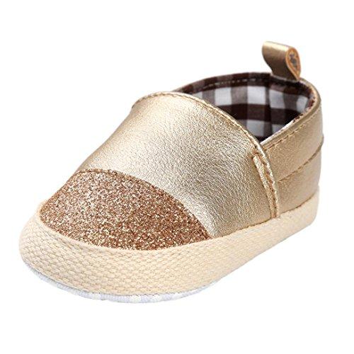 ❆Huhu833 Baby Mädchen Jungen Schuh Casual Leder Schuhe Sneaker Anti-Rutsch Weiche Sohle Kleinkind Gold