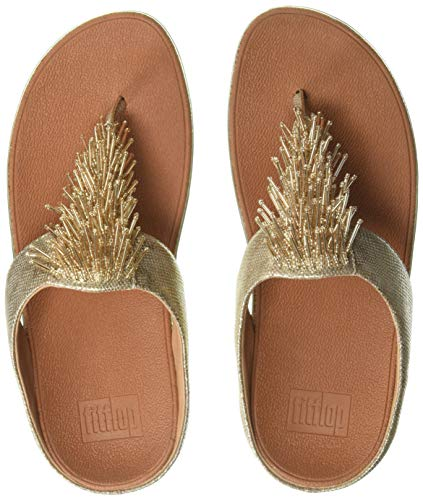 FitFlop Women's CHA Toe-Thong Sandals-Shimmer-Print Flip-Flop Gold, 11 M US