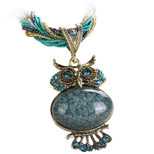 Clearance! Jewelry Womens Bohemian Rhinestone Owl Charm Animal Gemstone Pendant Statement Necklace Long Chain 22'' (Navy)