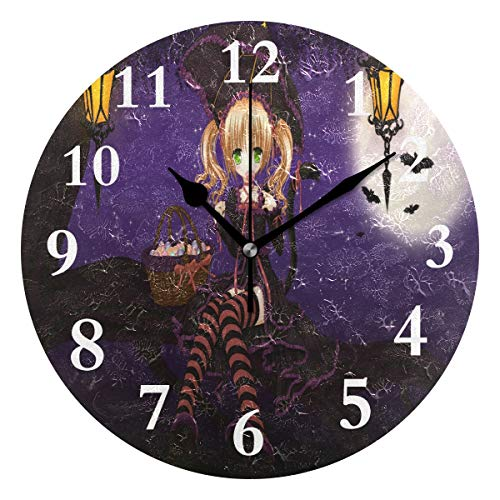 SHNUFHBD Personalized Non Ticking Silent Clock Art Living Room Kitchen Bedroom for Home Decor Special Halloween Anime Wallpaper Round Acrylic Wall Clock]()