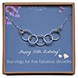 Efy Tal Jewelry Happy 50th Birthday Gifts for Women Necklace, Sterling Silver 5 Rings Five Decades Necklaces Gift Ideas