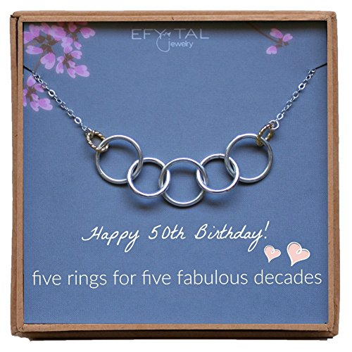 Efy Tal Jewelry Happy 50th Birthday Gifts for Women Necklace, Sterling Silver 5 Rings Five Decades Necklaces Gift Ideas by Efy Tal Jewelry