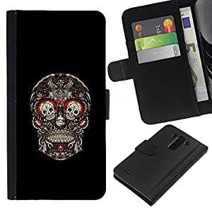 ZCell / LG G3 / Skull Red Blood Rose Floral Black / Caso Shell Armor Funda Case Cover Wallet / Cráneo Rojo Sangre Rose floral Negro