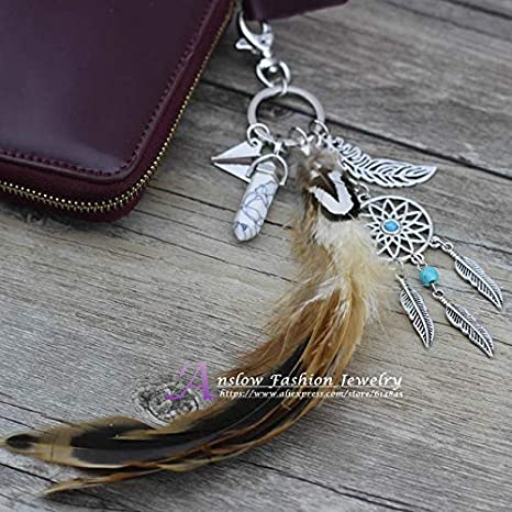 Amazon.com: Mct12-1 - Llavero con diseño de plumas de la ...