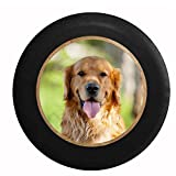 Full Color Golden Lab Retriever Hunting Dog - Man's Best Friend Jeep RV Camper Spare Tire Cover Black 30 in