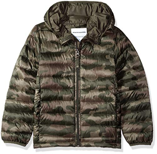 - Amazon Essentials Big Boys' Lightweight Water-Resistant Packable Hooded Puffer Jacket, Camo Print, Medium