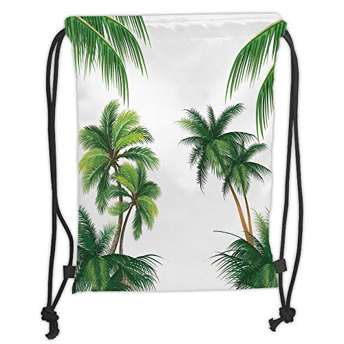 - New Fashion Gym Drawstring Backpacks Bags,Tropical,Coconut Palm Tree Nature Paradise Plants Foliage Leaves Digital Illustration,Hunter Green Soft Satin,Adjustable String Closure,T