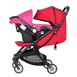 Silla de paseo compacta rojo y rosa