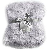 Nicole Miller Light Grey Luxury Mongolian Lamb Wool Faux Fur High Low Throw Blanket Straight Long Hair Plush Lush Artificial Pale Gray Fur