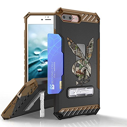 Bunny Camo (Iphone 8 Plus, Iphone 7 Plus Case, Trishield Gear Durable Armor Phone Cover With Screen Protector Lanyard Loop Kickstand Card Slot (Authentic Licensed By Playboy) - Hunter Camouflage Playboy Bunny)