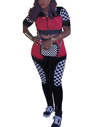 1326c727c71 Women Summer 2 Pieces Outfit Short Sleeve Checkered Crop Top Long Leggings  Pant Set Black S