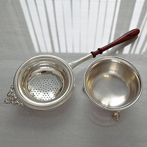 (Sterling Silver Tea Strainer and Bowl)