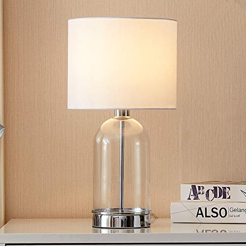 Cuaulans 16.15-in High Glass Table Lamp, Chrome Finished Cylindrical Side Desk Lamp with White Fabric Shade and Glass Body ()