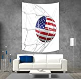 Polyester Tapestry Wall Hanging,Sports Decor,USA American Flag Printed Soccer Ball in a Net Goal Success Stylized Artwork,Wall Decor for Bedroom Living Room Dorm